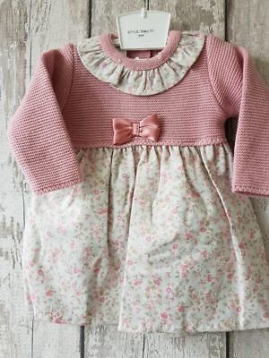 Spanish Style Baby Girl Pink Floral Half Knitted Dress & Pants Set / Outfit.
