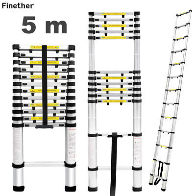 16.4FT Multi-purpose Telescopic Loft Ladder Aluminum Extension Folding Step Tool