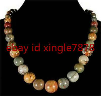 Natural 6-14mm Multicolor Picasso Jasper Round Beads Necklace 18""