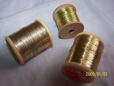 Lot de 3 bobines. Fil d'or. Mercerie ancienne 1930 et DMC. Broderie. N°5