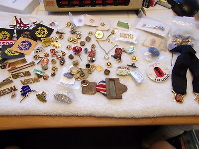 Huge Lot of VFW Pins plus Many Tie Clips and other items