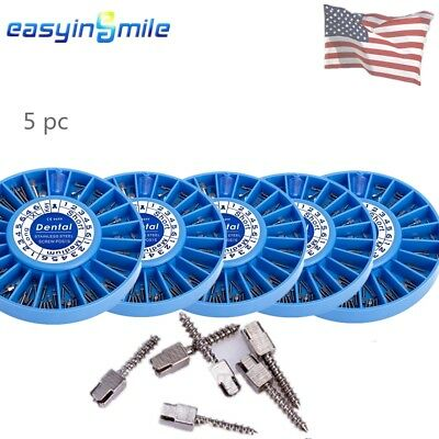 600Pcs/5 Pack EASYINSMILE 5 Kit Assorted Dental Screw Posts Kits Stainless Steel