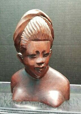 Carved Wood Lady Bust