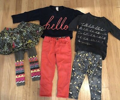 6 Pc Lot 3T Coordinating Outfits Toddler Girl Fall Winter Pants Skirt Top GUC