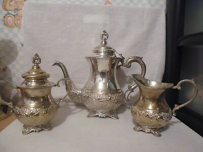Vintage Silver Plated  Coffee Pot With Milk Jug And Sugar Bowl