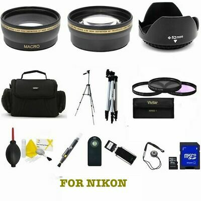 Nikon D5300 D3500 Dslr Camera Bag/ Tripod/ Lenses Filters Usb 16Gb Pro Hd 8K Kit