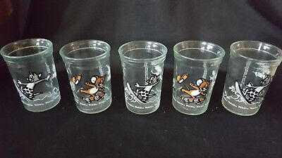 "5 Tom and Jerry Welch's Jelly Jars 1990's Glass 4"" Vintage"