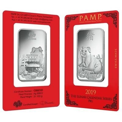 Lot of 2 - 1 oz PAMP Suisse Year of the Pig Silver Bar (In Assay)