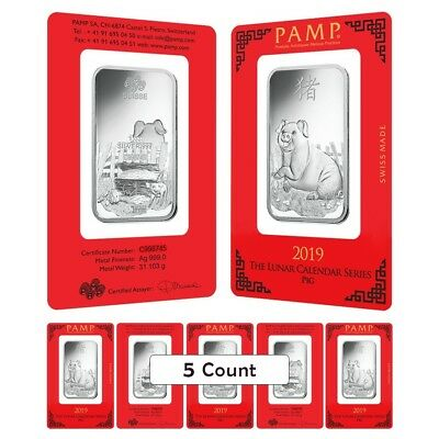 Lot of 5 - 1 oz PAMP Suisse Year of the Pig Silver Bar (In Assay)