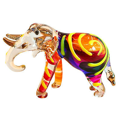 Elephant Figurine Animals Hand Painted Blown Glass Art Gift Collection Decor #3