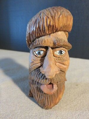 Vintage Primitive Hand Carved Wood Man w/Beard Figure Head Face Jesus Folk Art