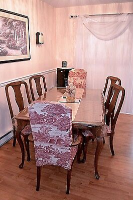 French Country Walnut Fruitwood Print Vintage Antique Queen Anne 7pc Dining Set