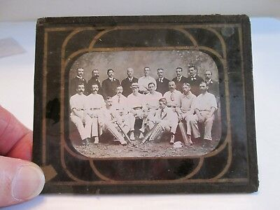 Antique Early 1900s Original Glass Plate Negative Cricket Team Posing