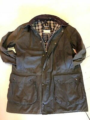 Men's BARBOUR BORDER Waxed Cotton Jacket Green  and Fleece Liner - size 42(107cm