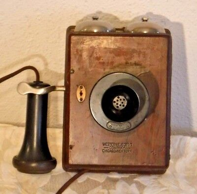 Western Electric Short Arm Type 293 A Wooden Wall Telephone w/Original Receiver
