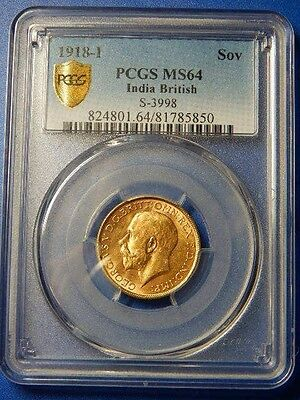 """India 1918-I Sovereign Gold Coin  PCGS MS64 ... """"Secure Shield"""" ..........RC1723"""