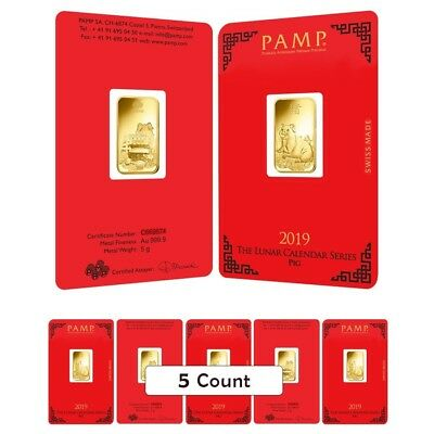 Lot of 5 - 5 gram PAMP Suisse Year of the Pig Gold Bar (In Assay)