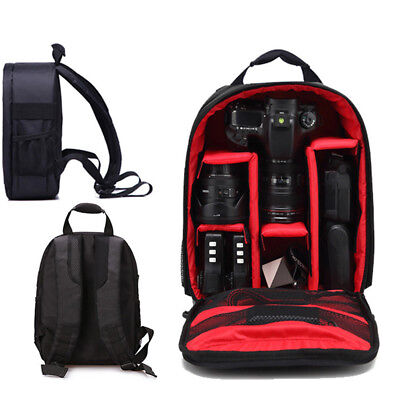 Waterproof DSLR SLR Camera Soft Case Bag Backpack Rucksack For Canon Nikon FO