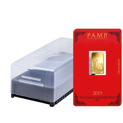 Box of 25 - 5 gram PAMP Suisse Year of the Pig Gold Bar (In Assay)