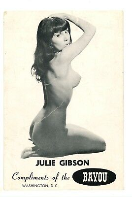 Rare c1950s Risque Card Advertisng Julie Gibson at the Bayou Washington, DC