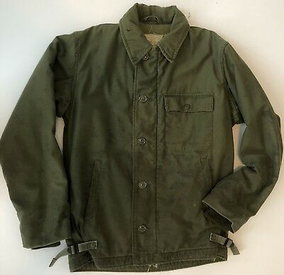 VTG USN US Navy Cold Weather A-2 Permeable Army Military Deck Jacket Small