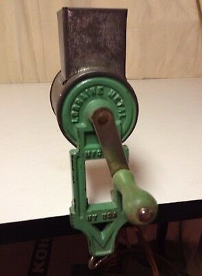 Antique Spice Grater, Nutmeg, Cheese, Original Green w/ Wood Handle