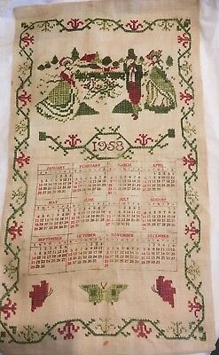VINTAGE Original Calendar Towel 1958 Stevens Linen Stitched  Edges Kitchen Decor