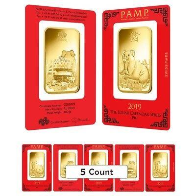 Lot of 5 - 100 gram PAMP Suisse Year of the Pig Gold Bar (In Assay)