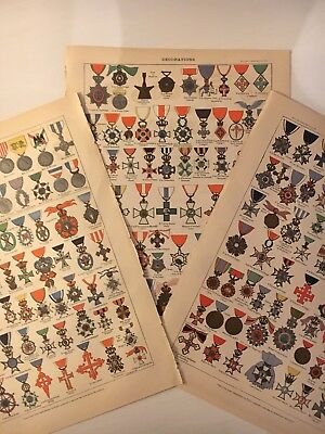 Three colour antique French prints, end 19th Century, medals and decorations.