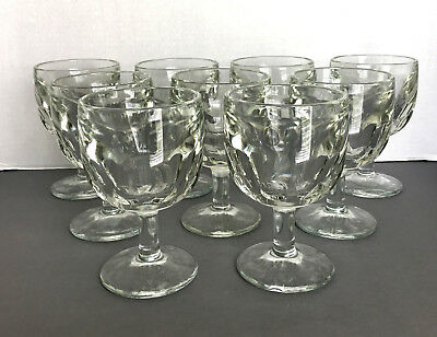 9 Thumbprint Heavy Beer Goblets Vintage