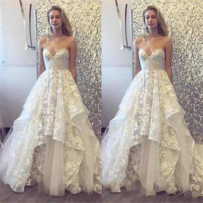 Boho Beach Wedding Dresses Bridal Gowns Sweetheart Lace Appliques A-Line Custom