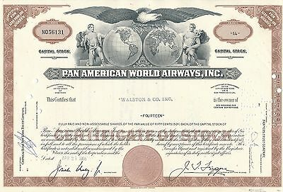 Pan American World Airways Aktie USA Fluglinie Luftfahrt Transport Pan Am 1965