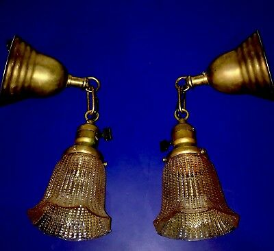 Wired Sconce PAIR 2 Brass Antique Vintage Fixtures Amber Shades Sconces 35A