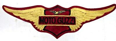 """VINTAGE MOTO GUZZI  12"""" Motorcycle Velour Embroidered Patch Jacket Shirt NOS"""