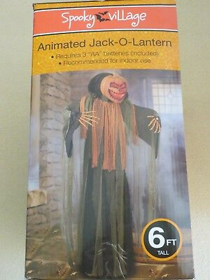 New 6' Life Size Animated Jack-O-Lantern Pumpkin Halloween Prop Haunted House