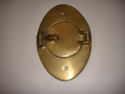 "VINTAGE SOLID BRASS FRONT ENTRY DOOR PEEP HOLE 5"" x 3.5"" OPENING IS 2 1/8"" OPEN"