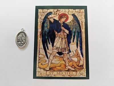 St. Michael French Written 1 Faith Blessed Medal Prayer Card French Language