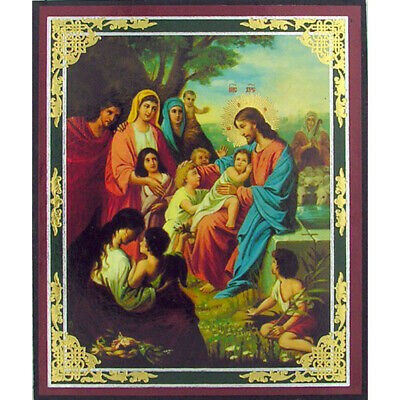 "Jesus Christ With Children Mini Icon Orthodox 3""X2 1/2"""