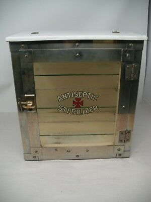 Vintage Antiseptic Sterilizer Counter Cabinet Case w/Marble top Glass Full View