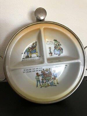 Vintage Baby Warming Dish w/ Old King Cole & Mary Quite Contrary Divided GW Co.
