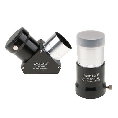 "Telescope Diagonal Prism Erecting Mirror 2"" 90 Degree & 2X Eyepiece Lens"