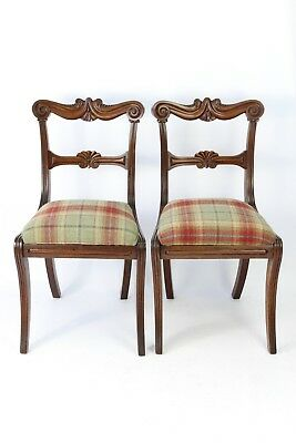 Pair William IV Mahogany Chairs - Georgian Regency Dining Desk Hall Side Chairs
