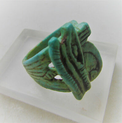 Beautiful Ancient Egyptian Glazed Faience Ring With Eye Of Horus