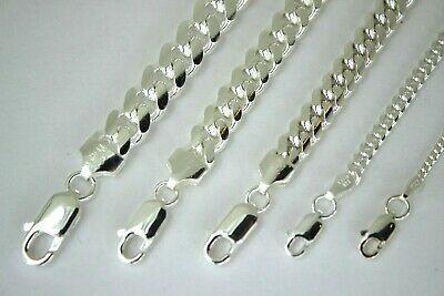 """AUTHENTIC 925 STERLING SILVER MIAMI CUBAN LINK CHAIN MEN WOMEN 2mm-7mm 7"""" - 30"""""""