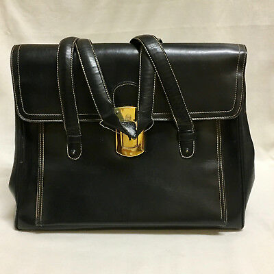 Large Leather Black Purse Vintage 1960 Gold Brass Fittings Strap White Stitching