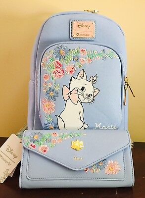 Loungefly Disney Aristocats Marie Periwinkle Blue Mini Floral Backpack & Wallet
