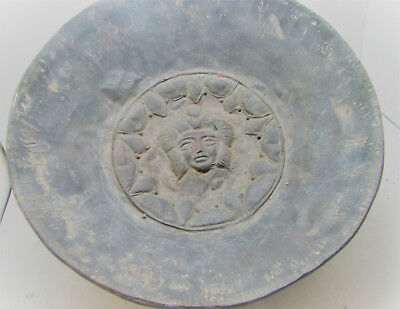 Scarce Circa 4Th Century Ancient Persian Hand Beaten Silver Bowl With Faces