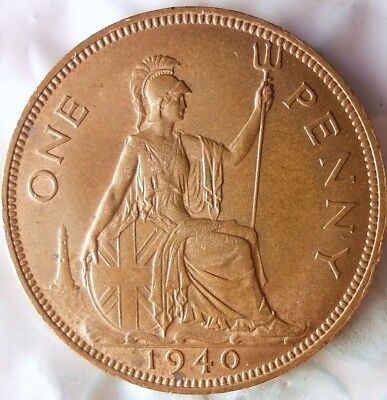 1940 GREAT BRITAIN PENNY - Rare Date - AU/UNC - High Value Coin - Lot #111