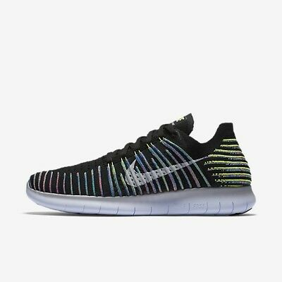 big sale 56161 2bbad Nike Free RN Flyknit 831069-003 Black White Multi-Color Mens Running Shoes  NEW