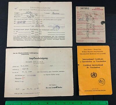 Post WW2 EX ENEMY Displaced Person ID & Vaccination Medical Paper Lot MULLER